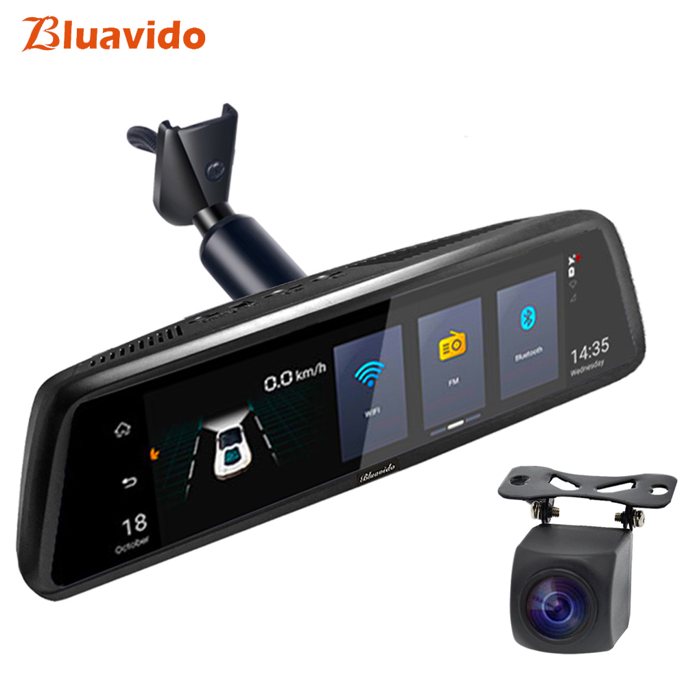 Bluavido 10 4G Car rear view mirror DVR Android GPS Navigation ADAS Full HD 1080P Video Camera Recorder Dual lens with bracket image