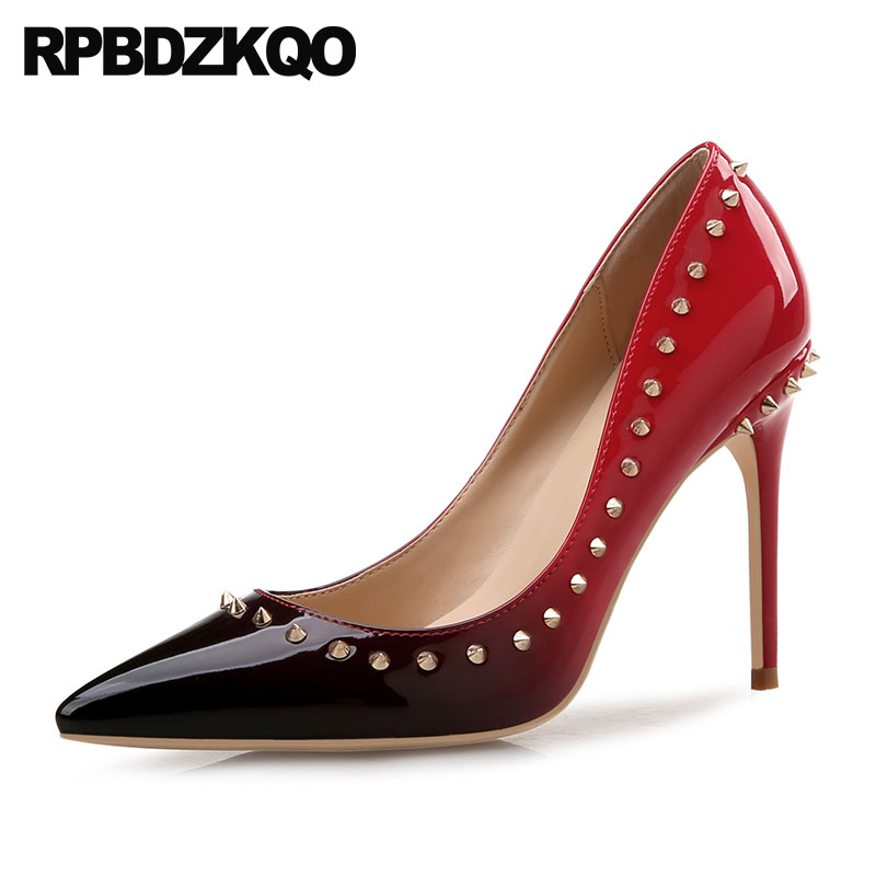 Size 33 Brand Stud Patent Leather Plus Wedding Multi Colored Party Shoes Red Pumps Rivet Elegant 3 Inch Pointed Toe Bride Thin цена 2017
