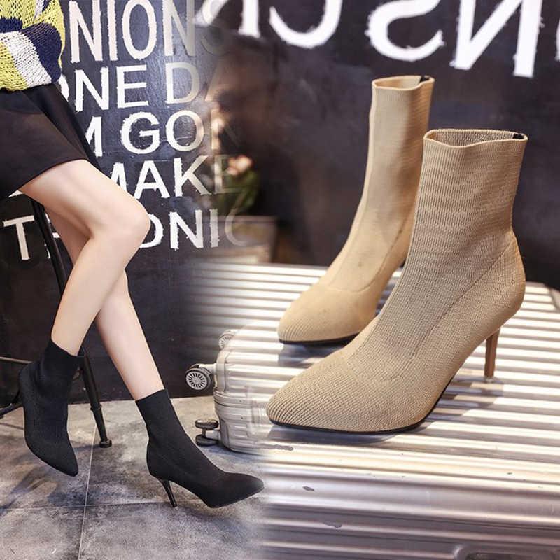 2019 sonbahar örgü çorap kadın ince topuk elastik kısa botas bayan yüksek topuk ince bacak martin çizmeler kadın ayak bileği patik