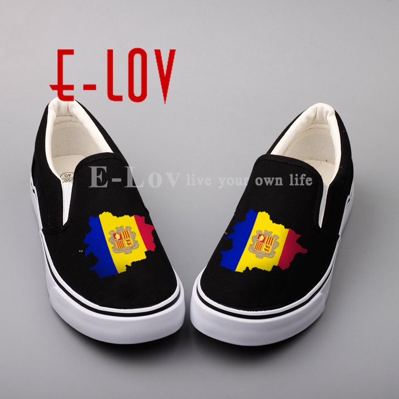 E-LOV Custom Printed Andorra national flags canvas shoes street style design Andorrans loafers shoes sapatos