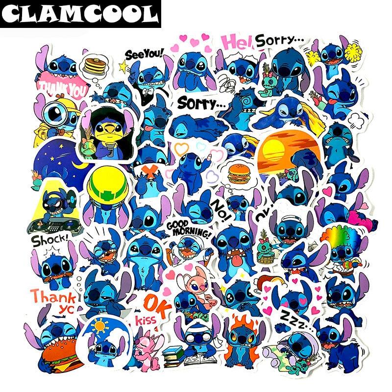 50pcs Cute Lilo Stitch Stationery Anime Scrapbooking Stickers for Children Mobile Phone Laptop Guitar Skateboard Bike Stickers(China)