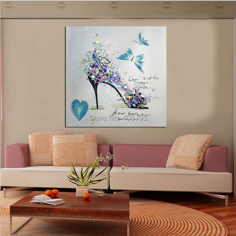 Women Love Modern Hand Painted Oil Painting On Canvas Artwork Abstract Fashion High Heels Wall Pictures For Living Room in Painting Calligraphy from Home Garden
