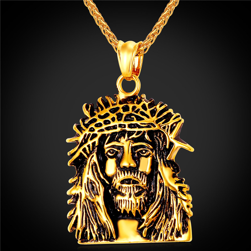 Jesus piece Necklace Pendant For Men Vintage Religious ...