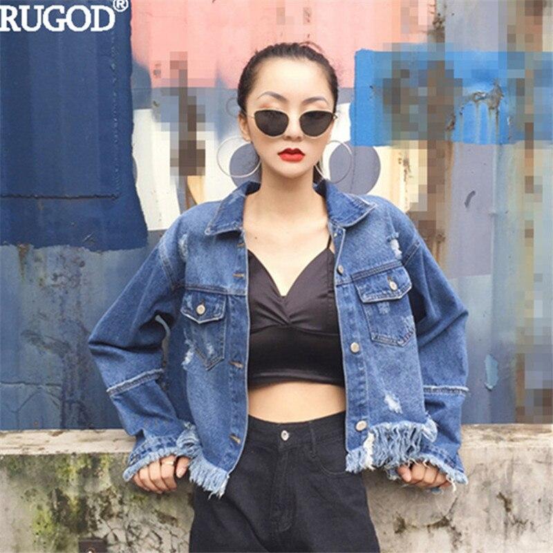 RUGOD 2018 Fashion Tassel Fringe Cowboy Jean Jackets Female Ripped Hole Short Denim Jacket Women Spring Summer Bomber Jackets