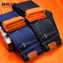 jantour Brand winter Warm Fleece Men's Jeans thick Stretch Denim Jean Straight Trousers male Cotton Pants men size 40 42 44 46