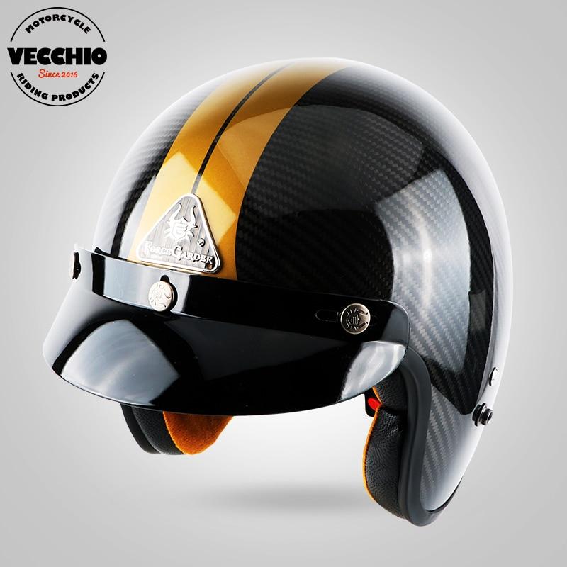 цена на Motorcycle Open face brand helmet motorbike motorcross helmet Carbon fiber retro vintage jet helmet Casco Capacete vespa helmet