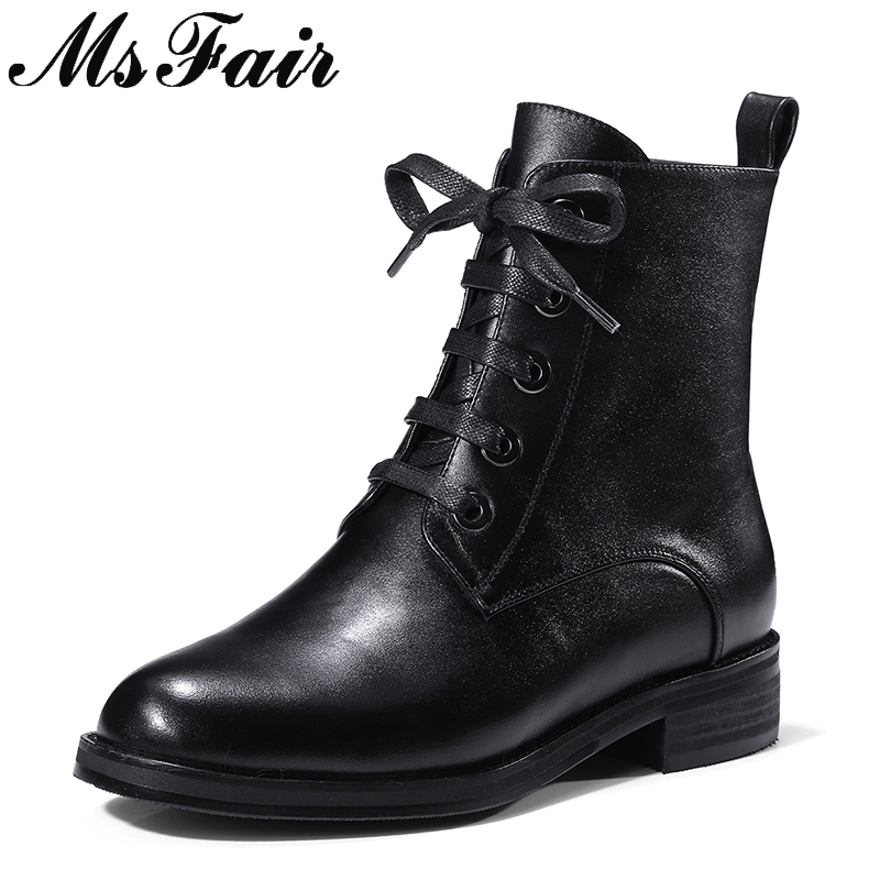 MsFair Women Round Toe Low Heel Boots Genuine Leather Concise Ankle Boots Woman Winter Elegant Fashion Ankle Boots Women Shoes msfair pointed toe high heel women boots genuine leather rivet ankle boots women shoes elegant black ankle boots shoes woman