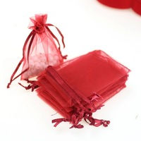 7x9cm Favor Wedding Christmas Gift Bag Jewelry Packaging Gift Boxes 100pcs/lot Drawable White Small Organza Bags