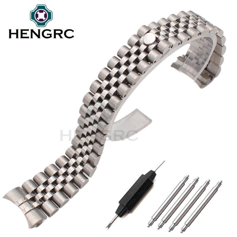 HENGRC 20mm Stainless Steel Watch Band Strap Bracelet Curved End Silver Lady Fashion Link Watchbands Accessories 20mm 23mm curved end watchbands rubber wrap rose gold stainless steel watch strap solid link bracelet for ar5890 5905 5919 5858