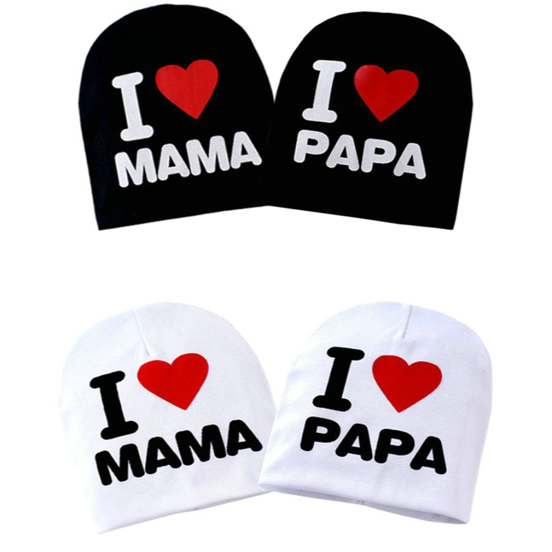 Super cute Baby Hat Knitted Warm fine and smooth Lycra Cotton Toddler Beanie Baby Cap Kids Unisex Print I Love Papa Mama Kid Hat chic letters print band embellished women s knitted bowler hat