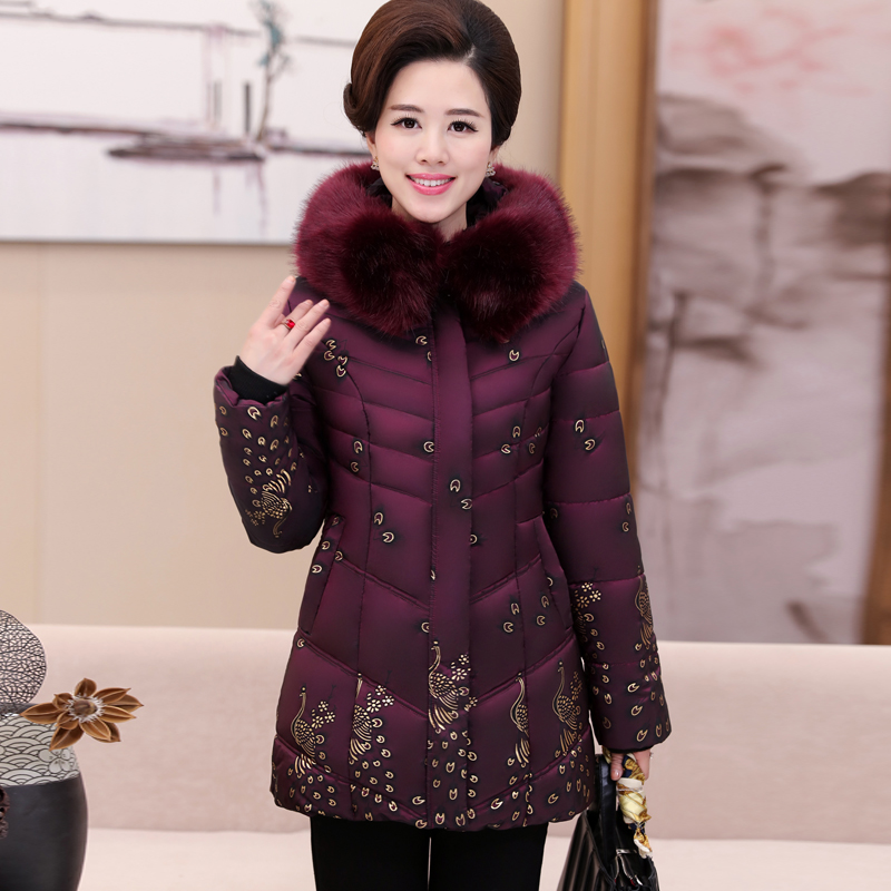2018 In the elderly women s down jacket cotton thicker coat in the long coat gold