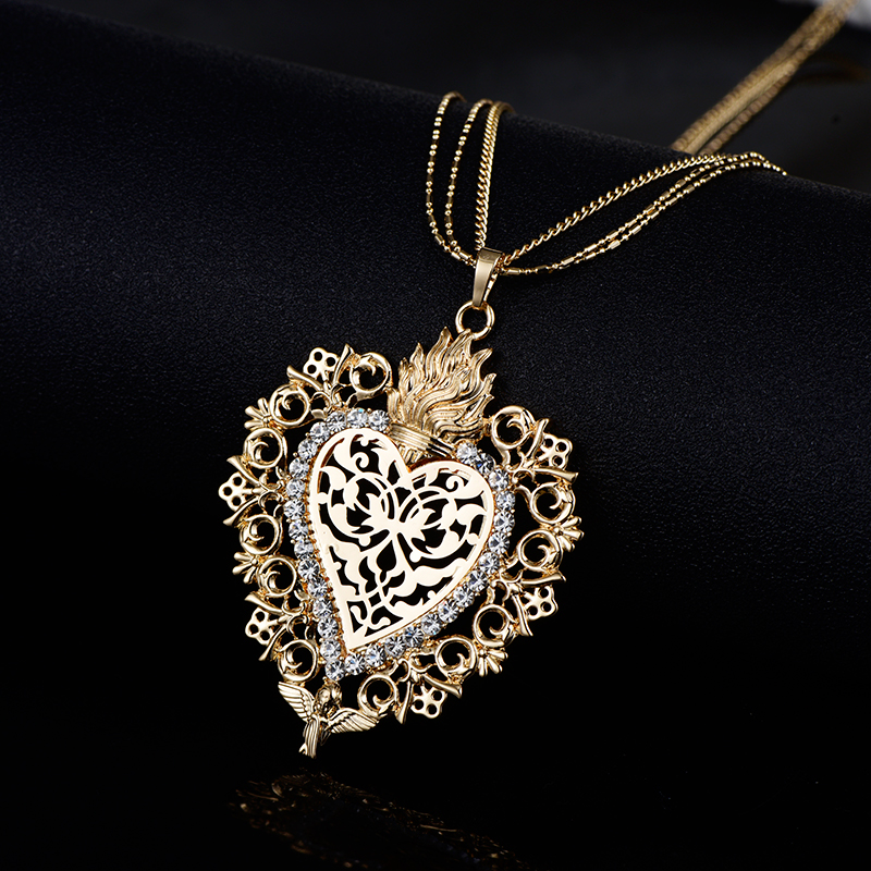 HTB1TKSxatHO8KJjSZFtq6AhfXXaj - New Gold Flower Heart Angle Glory Pendant Necklace Crystal Long Sweater Collar Women Vintage Jewelry dropshipping Best Gift