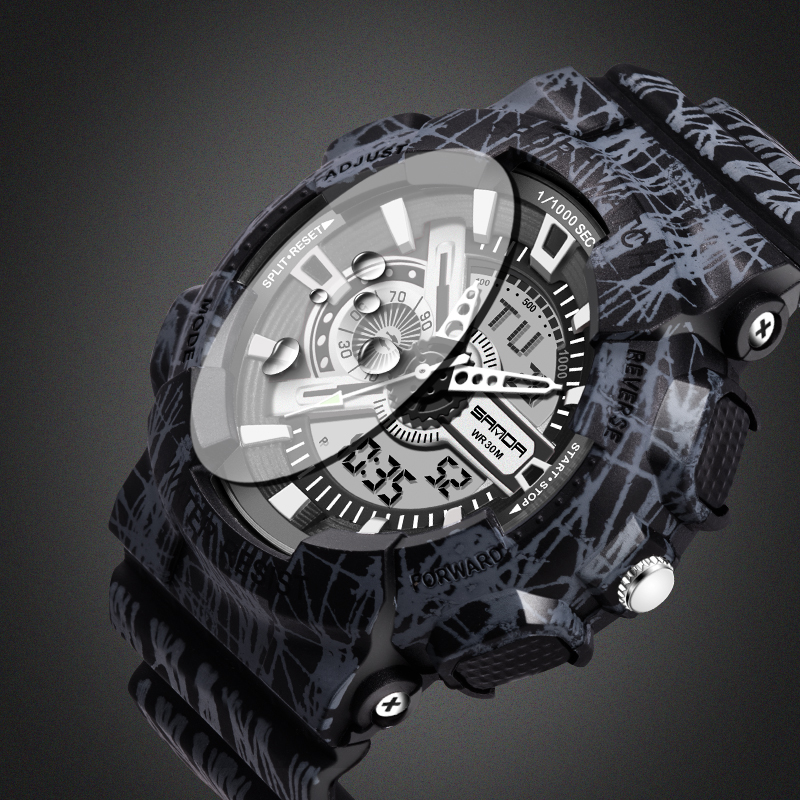2017 Quartz Digital Camo Watch Men Dual Time Man Sports Watches Men SANDA S Shock Military Army Reloj Hombre LED Wristwatches sanda date alarm men s army infantry waterproof led digital sports watch gray rubber