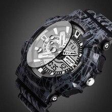 2017 de Cuarzo Reloj Hombre Dual Time Digital Camo Hombre Deportes relojes hombres sanda s choque reloj hombre militar del ejército led relojes de pulsera