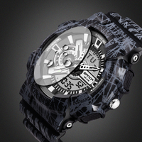 2017 Quartz Digital Camo Watch Men Dual Time Man Sports Watches Men SANDA S Shock Military