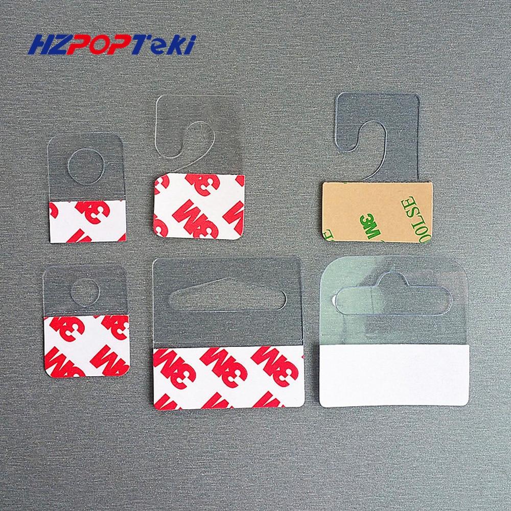 Plastic PVC PET Hang Hanging Tab Hooks On Merchandise Package Box Bag Hangers Peghooks Display J-hook Self Adhesive Style 400pcs