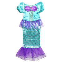 girls princess dress kids halloween costume dresses mermaid carnival party clothing teen children one piece - Mermaid Halloween Costume For Kids