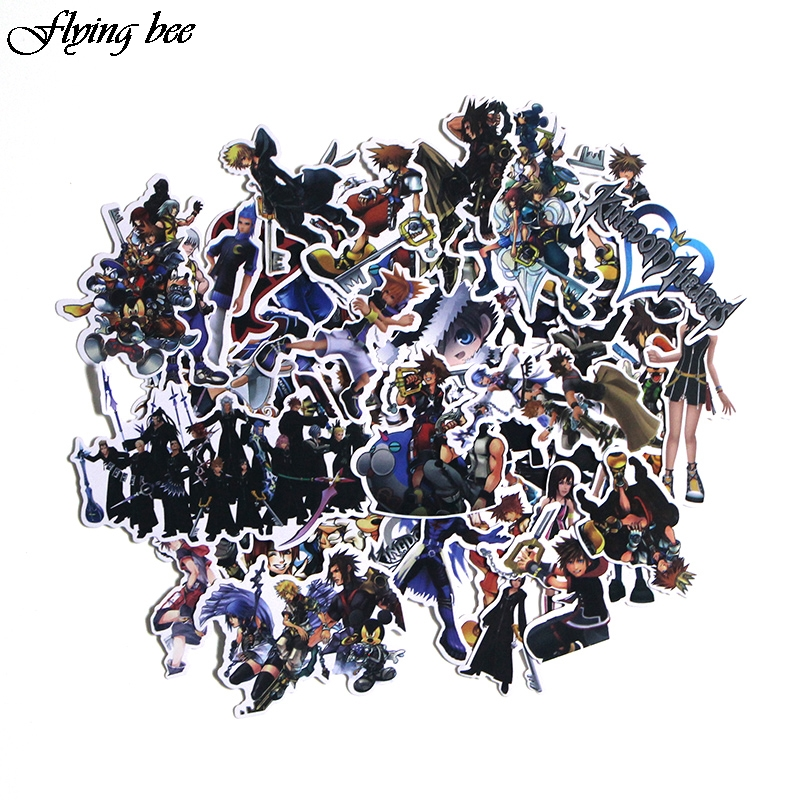 Flyingbee 50 Pcs Kingdom Hearts Waterproof Stickers Kids Toy Sticker for DIY Luggage Laptop Wall Car Phone Decoration X0038-in Stickers from Consumer Electronics
