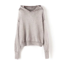 2018 Autumn Dazzle Glitter Knitted Hoodies Loose Type Pure Color Sweatshirt  Hooded a06ed8cc973c