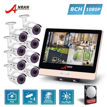 ANRAN CCTV Plug Play 4CH 1080P 12 Inch LCD NVR POE Home Security System 36 IR Night Waterproof IP Camera Outdoor HDD Optional