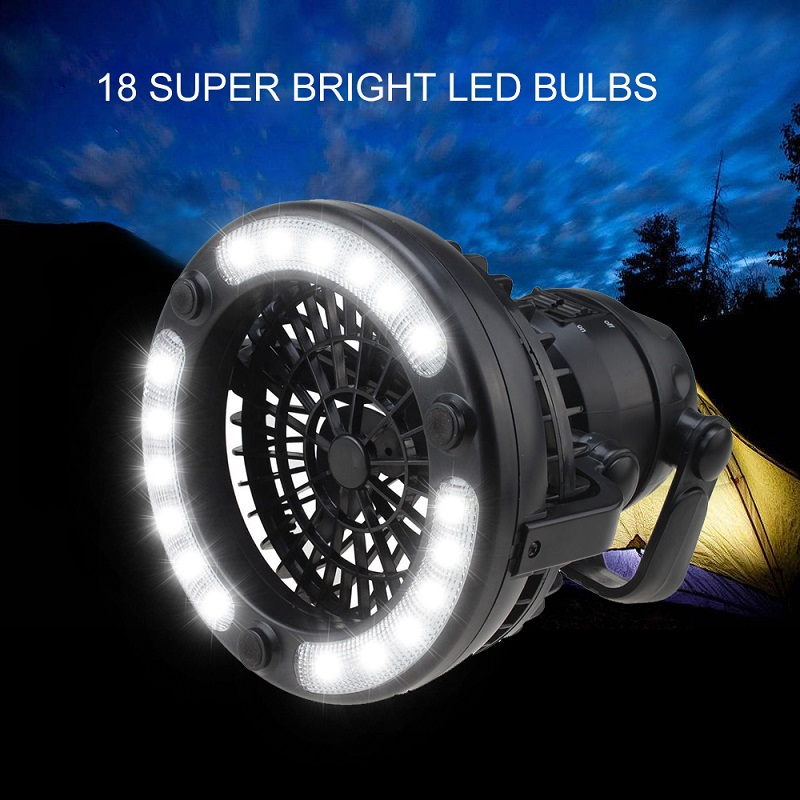 18LED Tent Fan Light Camping Hiking Gear Equipment Outdoor Portable Ceiling Lamp for camping hiking fishing No battery