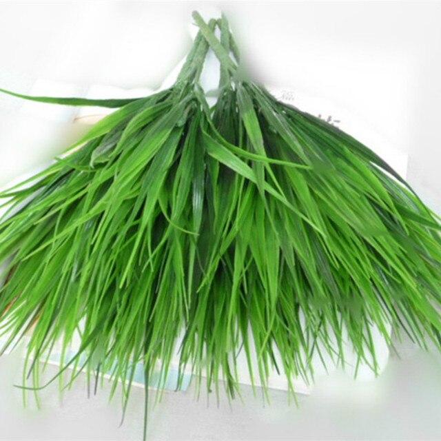 7-вилка зеленый искусственный пластиковая искусственная трава листья растений для Обручение Свадебные украшения дома клевер, растения настольные украшения