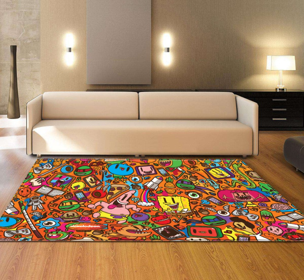 terrific colorful living room rug | Colorful Cartoon Rainbow Geometric Carpets For The Modern ...