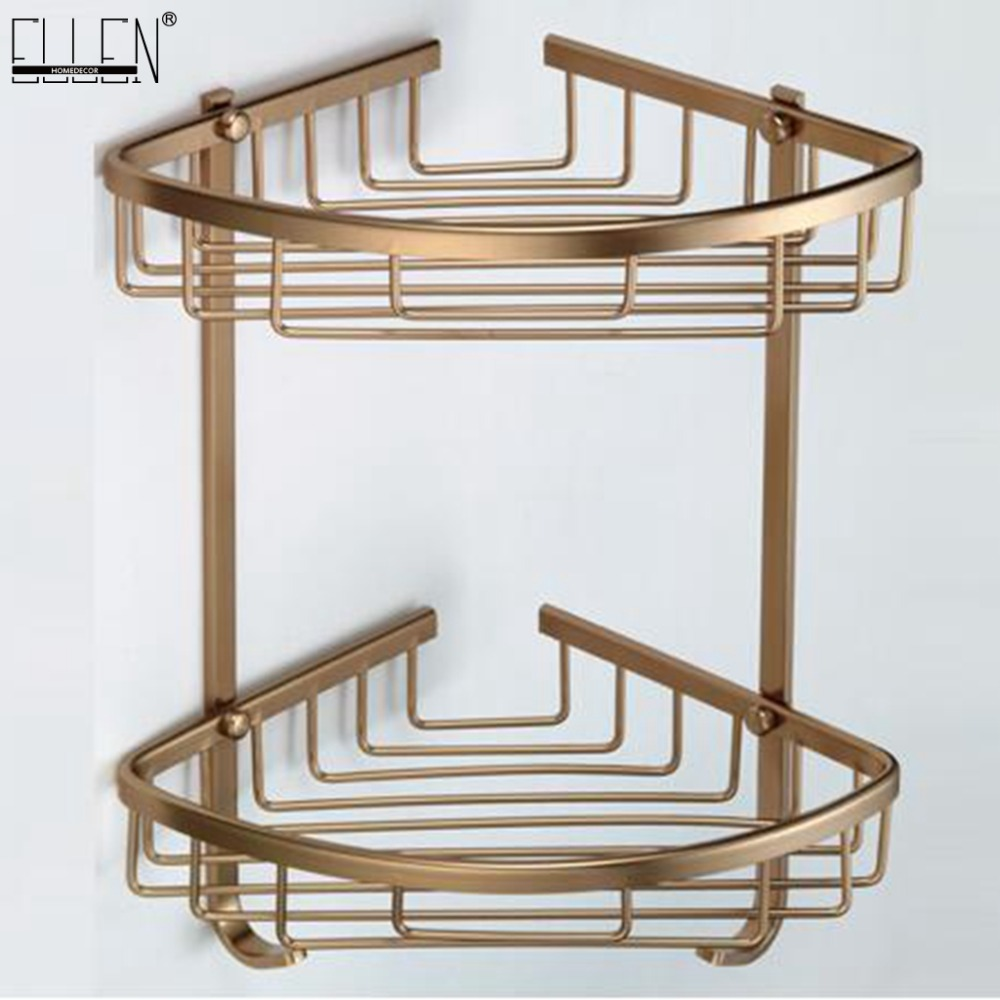 Bath Corner Shelf Antique Bronze Bathroom Shower Shelf Shampoo Holder Shelves Storage Shelf Rack Bathroom Basket Holder EF2301 vehhe kitchen basket bathroom rack sector corner wall shelf plastic shower shampoo holder storage shelves multifunctions ve226