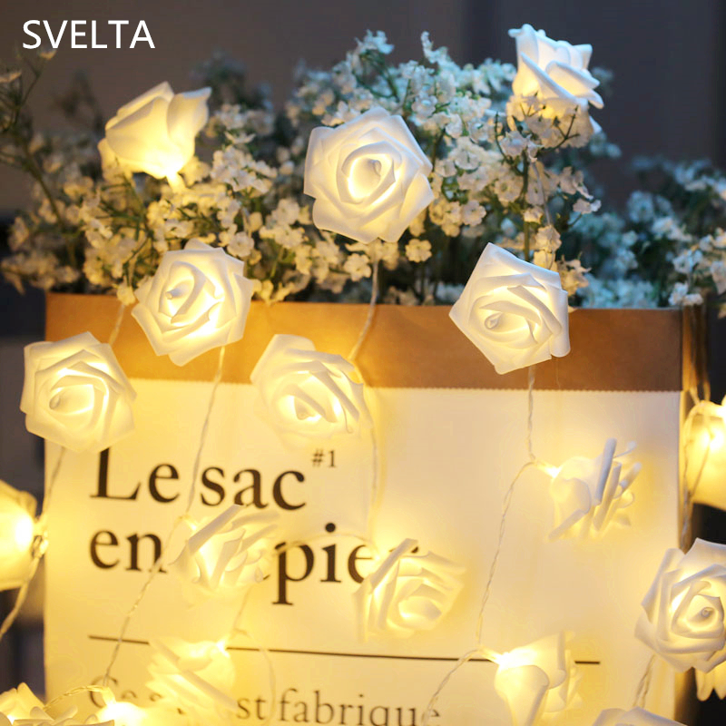 SVELTA 5M 40 Rose Garland LED String Light Battery Powered Led Floral Light Decoration F ...