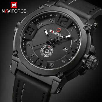 NAVIFORCE Mens Watches Top Brand Luxury Sport Quartz-Watch Leather Strap Clock Men Waterproof Wristwatch relogio masculino 9099 - DISCOUNT ITEM  90 OFF Watches