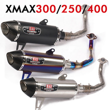 Xmax 300 Motorcycle Muffler Exhaust Pipe Full System Akrapovic Escape Moto Stainless steel Pipe For XMAX 400 xmax250 125 slip-on xmax 300 laser logo akrapovic exhaust pipe carbon fiber muffler exhaust pipe for yamaha xmax 250 300 cc 2017 18