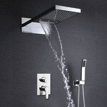 3 Function LED Shower Set Wall Mounted Rain Waterfall Head Shower Hot And Cold Mixer Bath Faucets quyanre wall mounted sus304 stainless steel rain shower faucets set system 3 way mixer tap square hand shower head bath shower