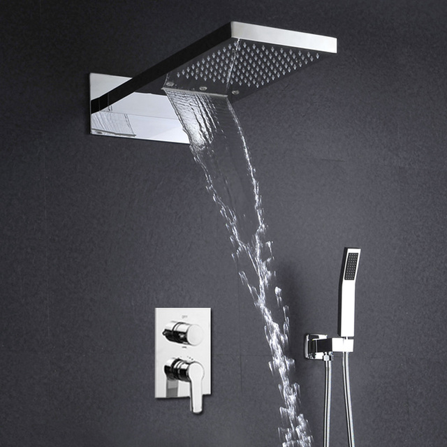 3 Function LED Shower Set Wall Mounted Rain Waterfall Head Shower Hot And Cold Mixer Bath Faucets