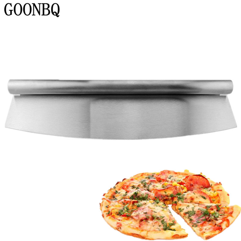 GOONBQ 1 pc Large Size Pizza Cutter Stainless Steel Pizza Slicer Cake Bread Cutting Knife  Pizza Pastry Knife Chopper нож для пиццы