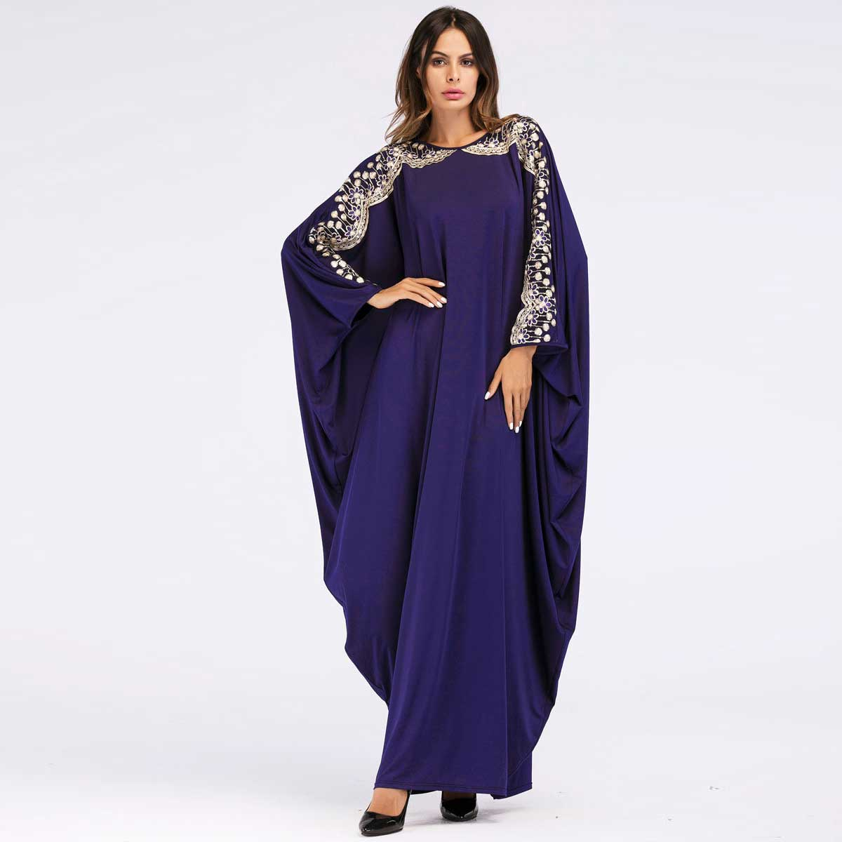 2019 Women Abaya Fashion Sequined Batwing Sleeve Maxi Dress Ethnic Thobe Chic Gown Patchwork Robe VKDR1439