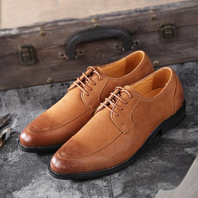 Británico Cómodo Oxfords Hombres Formal Cuero Negro De brown A Bullock Mano Hecho Black Nueva Encaje Zapatos Los Llegada Vestido qwzW0S