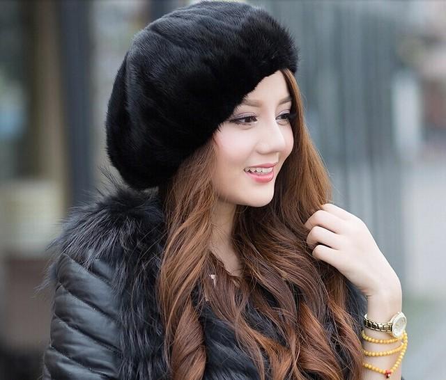 Oferta especial Senhoras Russas 2016 Novos Chapéus de Inverno Moda Casual Quente Mulheres Dobrado Toda Lua Chapéu de Pele de Vison Frete Grátis