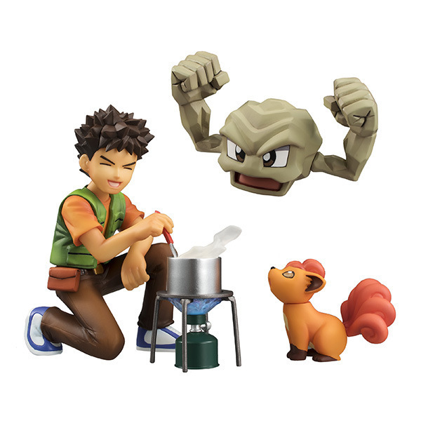 "Free Shipping 4"" Monster Anime Brock Takeshi & Geodude & Vulpix Boxed 10cm PVC Action Figure Collection Model Doll Toy Gift"