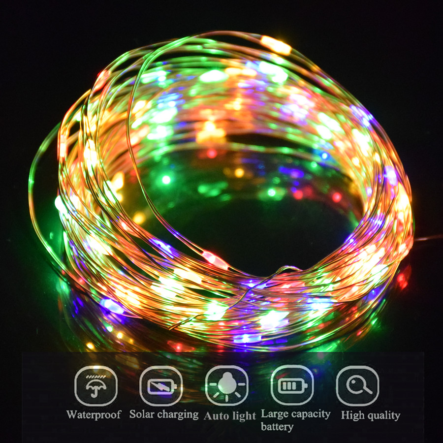 Solar Christmas Lights Copper Wire LED String Fairy Lights With Solar Panel Lamp luminaria For Garden Lighting Decoration