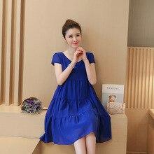 LANMEIHU 5 couleur 2017 Nouvelle mode, plus la taille de maternité vêtements de maternité d'été Lâche de maternité de mousseline de soie dress robes enceintes