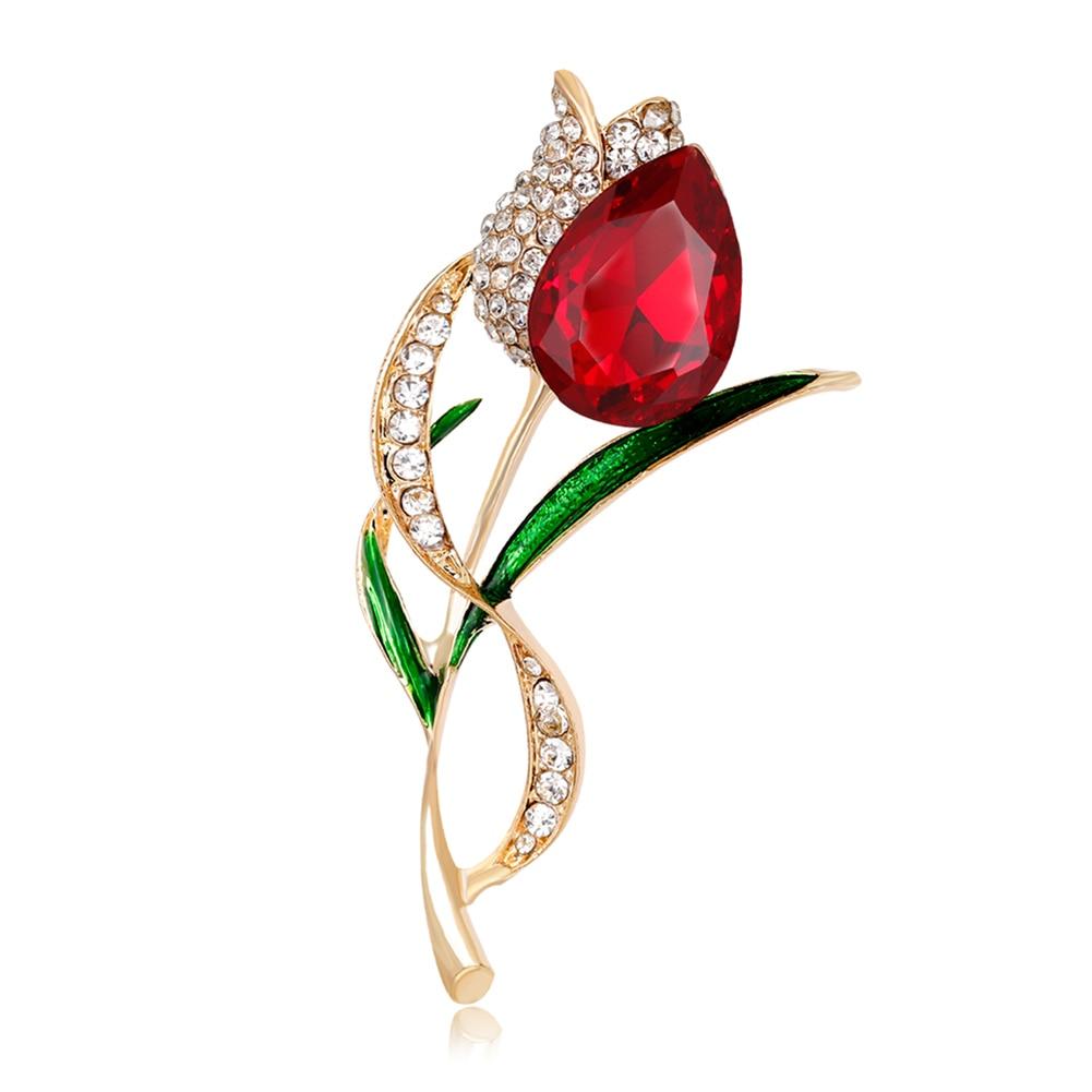 Elegant Gold Color Tulip Brooch Pins Scarves Colth Collar: Lady Elegant Tulip Flower Multicolor Waterdrop Rhinestone