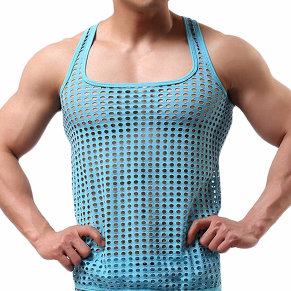 Summer Mens Vests Tank Top Men Mesh T Shirt Sleeveless Net Sexy Polyamide Underwear Hollow Out Casual Vests
