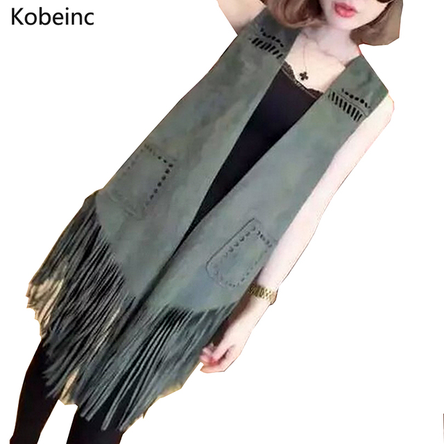 2017 Hollow Out Fringed Tassel Waistcoat Loose Vest Jackets Double Pocket Suede Vest Coat Fashion Solid Color Sleeveless Outwear