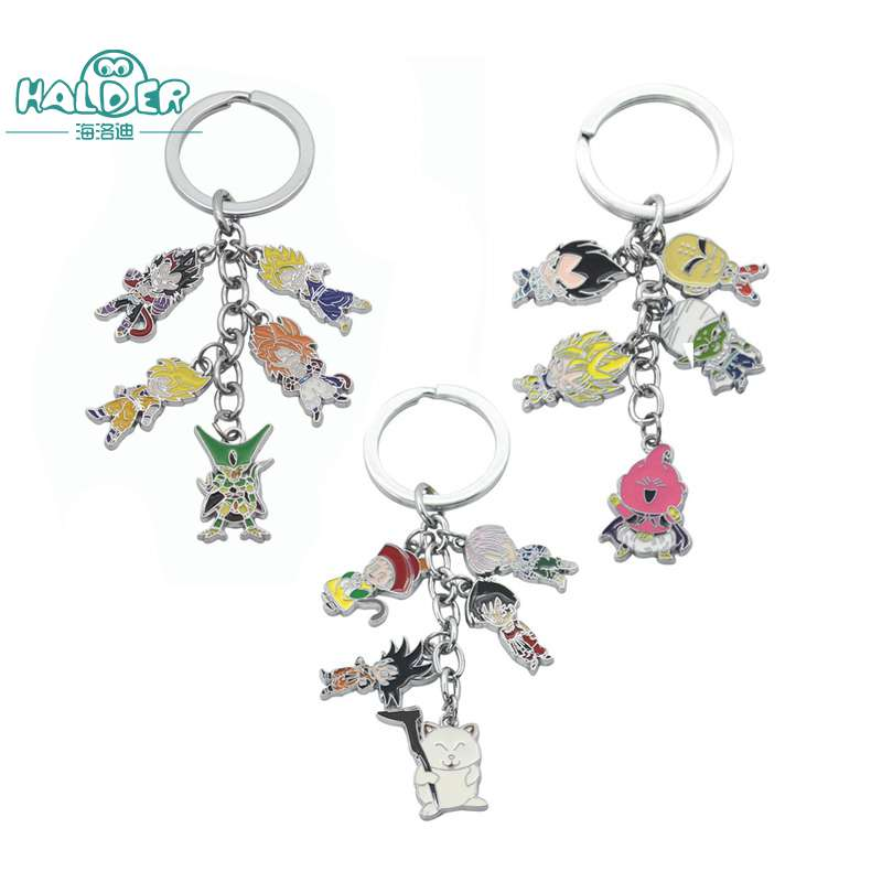 Halder Dragon Ball Figures Cosplay Key Chains Keyring Round Zinc Alloy Great Saiyaman Chaveiros Trinkets Accessories Keychain