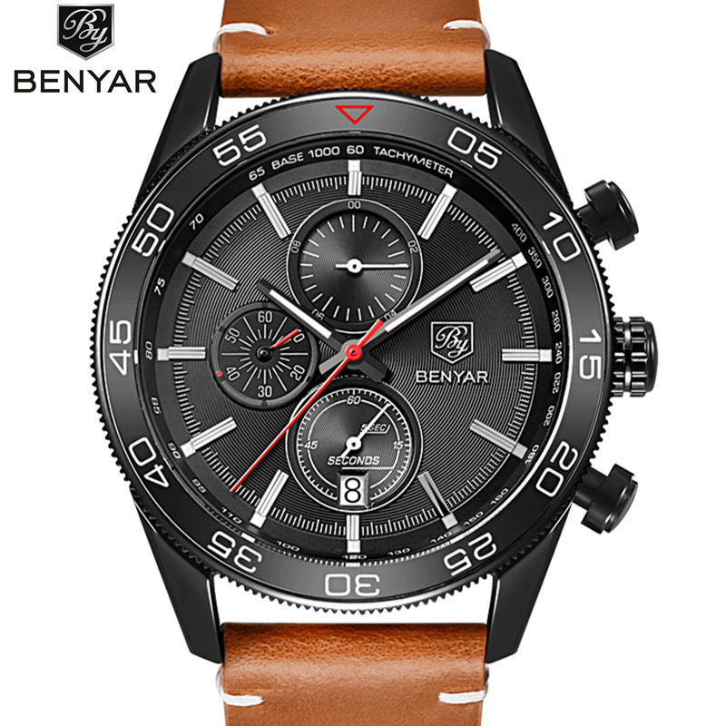 Reloj Hombre 2017 Watches men luxury brand Sport Military watches Genuine quartz mens watch Clock Relogio Masculino benyar New