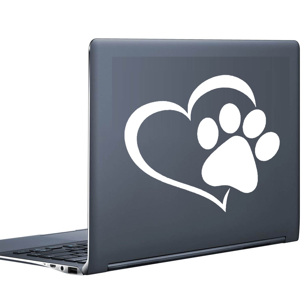 Paw heart print computer stickers home decor removable vinyl art creative design modern laptop decals in wall stickers from home garden on aliexpress com