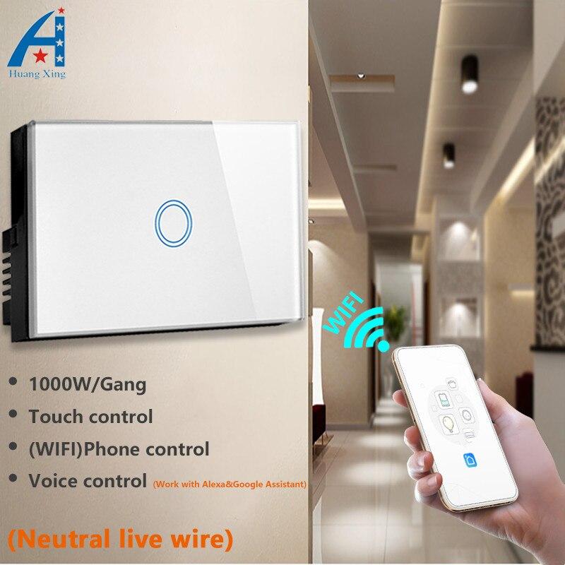 Nouveau panneau de verre de haute qualité AU/US standard 1 Gang 1 voie tactile sens APP mobile contrôle WIFI interrupteur de lumière pour la maison intelligente