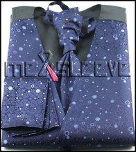 wedding formal wear man's   waistcoat (waistcoat+ascot tie+cufflinks+handkerchief)
