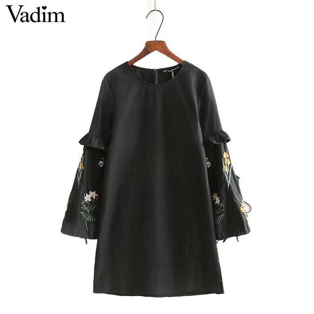 Женщины винтаж цветочная вышивка A-Line dress оборками с длинным рукавом о-образным вырезом дамы летом случайные уличной платья vestidos QZ2824