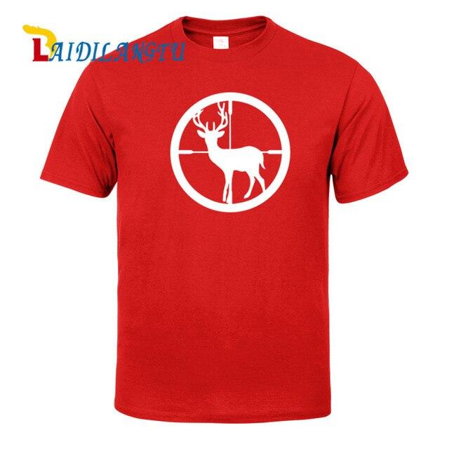 321ad139 Men T-shirts Funny Design Deer Hunter Aim Target Rifles short Sleeve Slim  Fit T Shirt Men Cotton T-Shirt Casual T Shirts